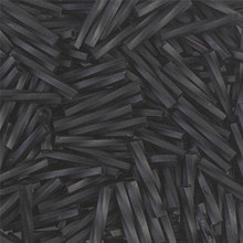 Miyuki Twisted Bugles, 2.0 x 12mm, SKU 502012.TW212-0401F, matte black, 18-23 gram tube, (1 18-23 gram tube, apprx 265 beads)