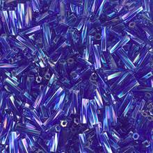 Miyuki Twisted Bugles, 2.0 x 6mm, SKU 500206.TW26-0177, Cobalt/Amethyst, 19-23 gram tube, (1 19-23 gram tube, apprx 700 beads)