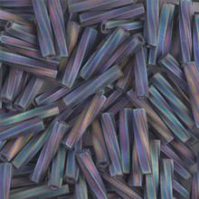 Miyuki Twisted Bugles, 2.7 x 12mm, SKU 502712.TW2712-0401FR, Matte Black AB, 17-22 gram tube, (1 17-22 gram tube, apprx 170 beads)