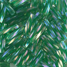 Miyuki Twisted Bugles, 2.7 x 12mm, SKU 502712.TW2712-0179, Transparent Green AB, 17-22 gram tube, (1 17-22 gram tube, apprx 170 beads)