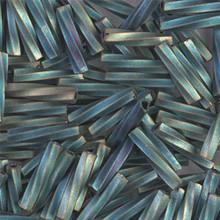 Miyuki Twisted Bugles, 2.7 x 12mm, SKU 502712.TW2712-1256, matte metallic patina iris, 17-22 gram tube, (1 17-22 gram tube, apprx 170 beads)