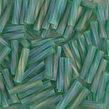 Miyuki Twisted Bugles, 2.7 x 12mm, SKU 502712.TW2712-0179F, Matte Transparent Green AB, 17-22 gram tube, (1 17-22 gram tube, apprx 170 beads)