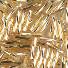 Miyuki Twisted Bugles, 2.7 x 12mm, SKU 502712.TW2712-0003, Gold Silver Lined, 17-22 gram tube, (1 17-22 gram tube, apprx 170 beads)