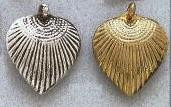 East Indian Metal Charm/Drop, Heart-Fan corrugated, 30mm, raw brass, (6 pieces)