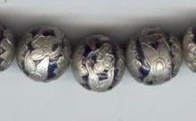 Enameled Round Flower Blue, 15mm, Oriental Metal Bead, (6 beads)