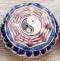 Enameled Yin Yang Disc, 20mm, red, Oriental Metal Bead, (4 beads)