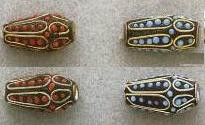 East India Metal Bead, Turquoise Inlay Tube, silver plated, 25mm, (4 beads)