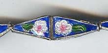 Enameled Long 3-D Diamond, 9x31mm, Oriental Metal Bead, (4 beads)