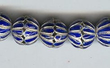 Enameled Cap Dark Blue, 14mm, Oriental Metal Bead, (4 beads)