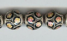 Enameled Hollow Flower, 15mm, Oriental Metal Bead, (6 beads)