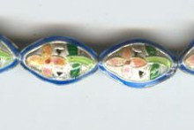 Enameled Bead Flat Eye Shaped, 18mm, Oriental Metal Bead, (6 beads)