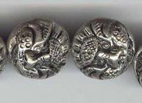 Silver on Copper Flat Dragon Head Bead, Small, 18mm, Oriental Metal Bead, (4 beads)