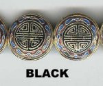 Enamel Bead Flat, 20mm, Black, Oriental Metal Bead, (4 beads)
