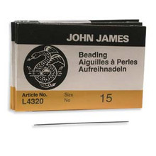 English Beading Needles, Size 15, regular length, (package of 25)