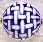 Oriental Porcelain Beads, Blue & White, Round, basket look, 27mm, (4 beads)