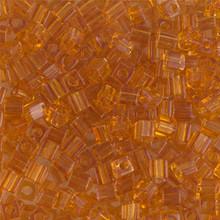 Japanese Miyuki 3x3 Cube Seed Bead, SKU 188003.SB3-0133, transparent topaz, (1 24-28gr tube, apprx 440 beads)
