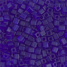 Japanese Miyuki 3x3 Cube Seed Bead, SKU 188003.SB3-0151F, matte transparent cobalt, (1 24-28gr tube, apprx 440 beads)