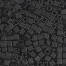 Japanese Miyuki 3x3 Cube Seed Bead, SKU 188003.SB3-0401F, matte black, (1 24-28gr tube, apprx 440 beads)