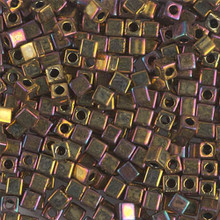 Japanese Miyuki 3x3 Cube Seed Bead, SKU 188003.SB3-0462, metallic gold iris, (1 24-28gr tube, apprx 440 beads)