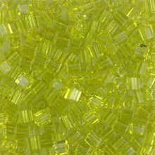 Japanese Miyuki 3x3 Cube Seed Bead, SKU 188003.SB3-0143, transparent lime, (1 24-28gr tube, apprx 440 beads)
