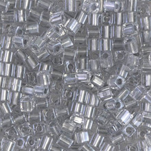 Japanese Miyuki 3x3 Cube Seed Bead, SKU 188003.SB3-0242, pewter gray lined crystal, (1 24-28gr tube, apprx 440 beads)