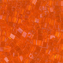 Japanese Miyuki 3x3 Cube Seed Bead, SKU 188003.SB3-0138, transparent orange, (1 24-28gr tube, apprx 440 beads)
