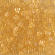 Japanese Miyuki 3x3 Cube Seed Bead, SKU 188003.SB3-0132, transparent light topaz, (1 24-28gr tube, apprx 440 beads)