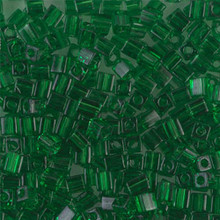 Japanese Miyuki 3x3 Cube Seed Bead, SKU 188003.SB3-0146, transparent green, (1 24-28gr tube, apprx 440 beads)