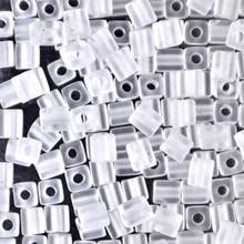 Japanese Miyuki 4x4 Cube Seed Bead. SKU 189004.SB4-0131F, matte crystal, (1 24-28gr tube, apprx 336 beads)