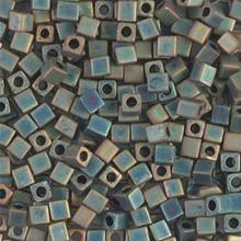 Japanese Miyuki 3x3 Cube Seed Bead, SKU 188003.SB3-2008, matte teal ab, (1 24-28gr tube, apprx 440 beads)