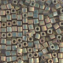 Japanese Miyuki 3x3 Cube Seed Bead, SKU 188003.SB3-2035, opaque khaki ab, (1 24-28gr tube, apprx 440 beads)