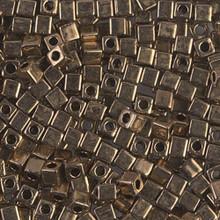 Japanese Miyuki 3x3 Cube Seed Bead, SKU 188003.SB3-0457, metallic bronze, (1 24-28gr tube, apprx 440 beads)