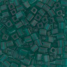 Japanese Miyuki 4x4 Cube Seed Bead. SKU 189004.SB4-0147F, Matte Transparent Emerald, (1 24-28gr tube, apprx 336 beads)