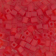 Japanese Miyuki 4x4 Cube Seed Bead. SKU 189004.SB4-0140F, Matte Transparent Red-Orange, (1 24-28gr tube, apprx 336 beads)