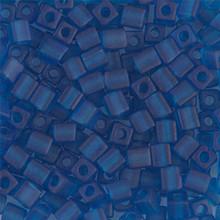 Japanese Miyuki 4x4 Cube Seed Bead. SKU 189004.SB4-0149F, Matte Transparent Capri Blue, (1 24-28gr tube, apprx 336 beads)