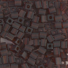 Japanese Miyuki 4x4 Cube Seed Bead. SKU 189004.SB4-0134F, Matte Transparent Dark Amber, (1 24-28gr tube, apprx 336 beads)