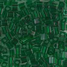 Japanese Miyuki 4x4 Cube Seed Bead. SKU 189004.SB4-0146, Transparent Green, (1 24-28gr tube, apprx 336 beads)