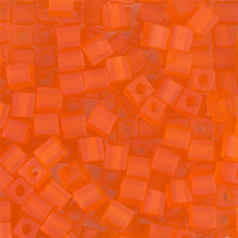Japanese Miyuki 4x4 Cube Seed Bead. SKU 189004.SB4-0138F, matte transparent orange, (1 24-28gr tube, apprx 336 beads)
