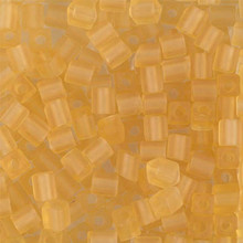 Japanese Miyuki 4x4 Cube Seed Bead. SKU 189004.SB4-0132F, matte transparent light topaz, (1 24-28gr tube, apprx 336 beads)