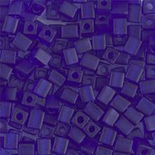 Japanese Miyuki 4x4 Cube Seed Bead. SKU 189004.SB4-0151F, Matte Transparent Cobalt, (1 24-28gr tube, apprx 336 beads)