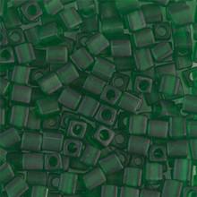 Japanese Miyuki 4x4 Cube Seed Bead. SKU 189004.SB4-0146F, matte transparent green, (1 24-28gr tube, apprx 336 beads)