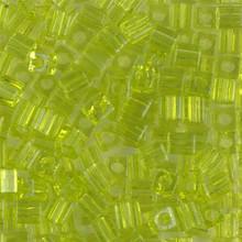Japanese Miyuki 4x4 Cube Seed Bead. SKU 189004.SB4-0143, Transparent Lime, (1 24-28gr tube, apprx 336 beads)