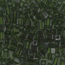 Japanese Miyuki 4x4 Cube Seed Bead. SKU 189004.SB4-0158, Transparent Olive Green, (1 24-28gr tube, apprx 336 beads)