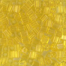 Japanese Miyuki 4x4 Cube Seed Bead. SKU 189004.SB4-0136, Transparent Yellow, (1 24-28gr tube, apprx 336 beads)