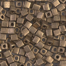 Japanese Miyuki 4x4 Cube Seed Bead. SKU 189004.SB4-2006, Matte Metallic Bronze, (1 24-28gr tube, apprx 336 beads)