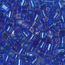 Japanese Miyuki 4x4 Cube Seed Bead. SKU 189004.SB4-0019, Sapphire S/L, (1 24-28gr tube, apprx 336 beads)