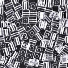Japanese Miyuki 4x4 Cube Seed Bead. SKU 189004.SB4-0131, Crystal, (1 24-28gr tube, apprx 336 beads)