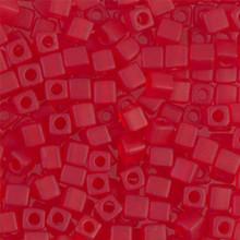 Japanese Miyuki 4x4 Cube Seed Bead. SKU 189004.SB4-0141F, Matte Transparent Ruby, (1 24-28gr tube, apprx 336 beads)
