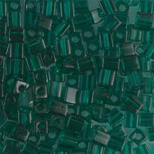 Japanese Miyuki 4x4 Cube Seed Bead. SKU 189004.SB4-0147, transparent emerald, (1 24-28gr tube, apprx 336 beads)