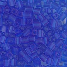 Japanese Miyuki 4x4 Cube Seed Bead. SKU 189004.SB4-0150F, matte transparent sapphire, (1 24-28gr tube, apprx 336 beads)
